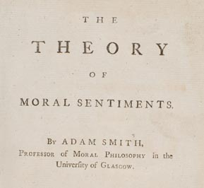 Theory of Moral Sentiments by Adam Smith (title page of first edition)
