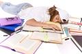 Sleepy student working late