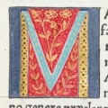 Illuminated initial M from an incunable in the Hunterian Collection