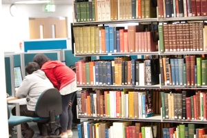 Students selecting books
