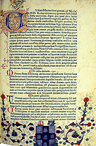 Decorated page with coat of arms of Francois Bonivard