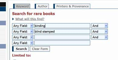 screenshot of rare books search