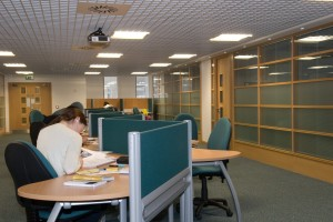 Level 4 study area and rooms