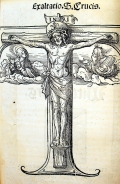 Crucifix woodcut by Hans Burgkmair in Luther's 1522 Sermon von den Heiltumen (Sp Coll BE6-a.7 (item 5))