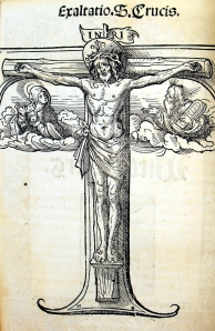 Crucifix woodcut by Hans Burgkmair in Luther's 1522 <strong>Sermon von den Heiltumen</strong> (Sp Coll BE6-a.7 (item 5))