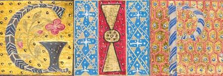Illuminated initials from Scriptores historiae Augustae Milan: Philippus de Lavagnia, 1475 (Sp Coll Hunterian Ds.2.6-7)