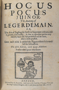 Title page of Hocus Pocus Juinor with small woodcut showing magician and disappearing doll
