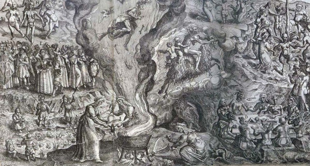 "Detail from an engraving of a witches' sabbat by Jan Ziarnko from ""Tableau de l'inconstance des mauvais anges et demons"" (Sp Coll Al-x.50)"