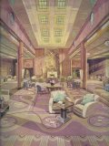 Artist's impression of the design concept for the Main Lounge of RMS Queen Mary with carpet by Agnes Pinder Davis, 1936.