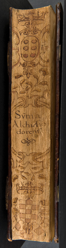 Decorated fore-edge of a book that prevoously belonged to the previously owned by the Marqués de Astorga (Sp Coll BD7-d.19)