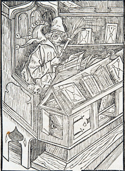 Woodcut of book fool from Sebastian Brant