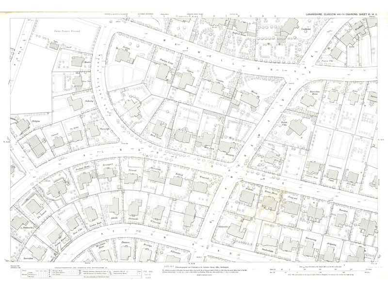 Image of Town Plan of Glasgow Town Plan sheet VI.14.11 showing Albert and Maxwell Drive in Pollockshields