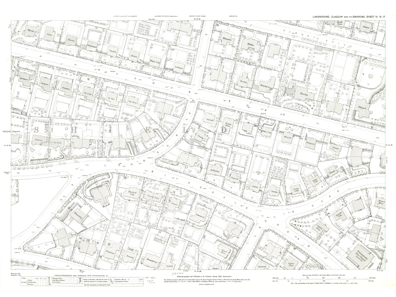 Image of sheet VI.14.17 of Town Plan of Glasgow - Pollockshields area showing Aytoun and Nithsdale Road