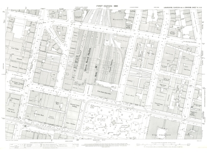 Image of Town Plan of Glasgow sheet showing Queen Street Station and George Square