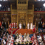 Queen delivering speech at State Opening of Parliament 2012.