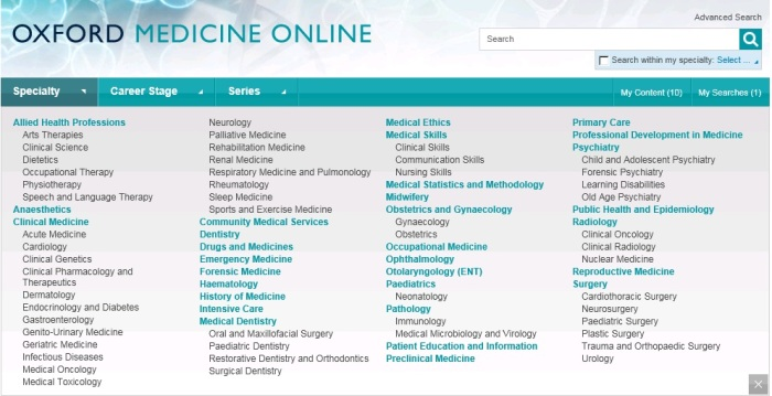 OxMed home page screen shot