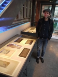 Christy Cole next to the case of Templeton designs and records