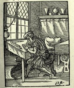 Woodblock cutter ('formschneider') leaf C2r from Schopper's 1574 De Omnibus illiberalibus, woodcuts by Jost Amman. Sp Coll S.M. 969