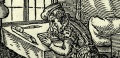 Detail showing a woodblock cutter ('formschneider') at work. Leaf C2r from Schopper's 1574 'De Omnibus illiberalibus', woodcuts by Jost Amman. Sp Coll S.M. 969