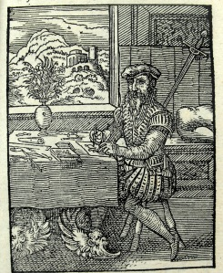 Woodblock designer ('reisser') leaf C1r from Schopper's 1574 'De Omnibus illiberalibus', woodcuts by Jost Amman. Sp Coll S.M. 96