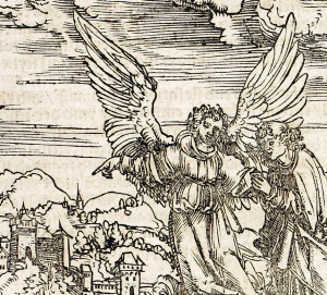Detail from woodcut illustration from the workshop of Lucas Cranach the Elder (1472-1553), in Luther's Das newe Testament deutzsch, 1522. Sp Coll K.T. f7