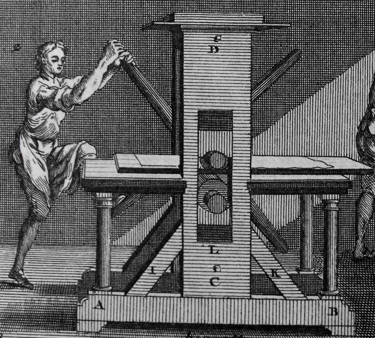 Detail of an intaglio rolling press, from a plate in Diderot's 'Encyclopédie' (Sp Coll Bn5-a.4)