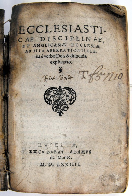 Titlepage of Travers' 'Ecclesiasticae disciplinae', with defaced imprint location (Sp Coll BE6-g.21)