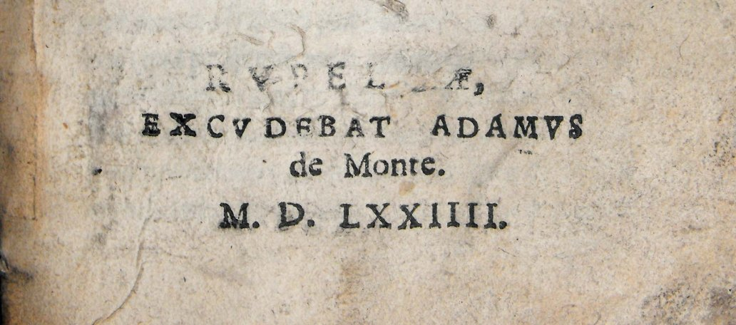 Imprint of Travers' 'Ecclesiasticae disciplinae', with defaced imprint location (Sp Coll BE6-g.21)