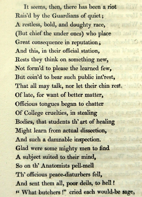 Stanza from Anatomy threatened with excommunication - a satirical poem defending the anatomists against the critical public (Sp Coll RQ 1770/43)