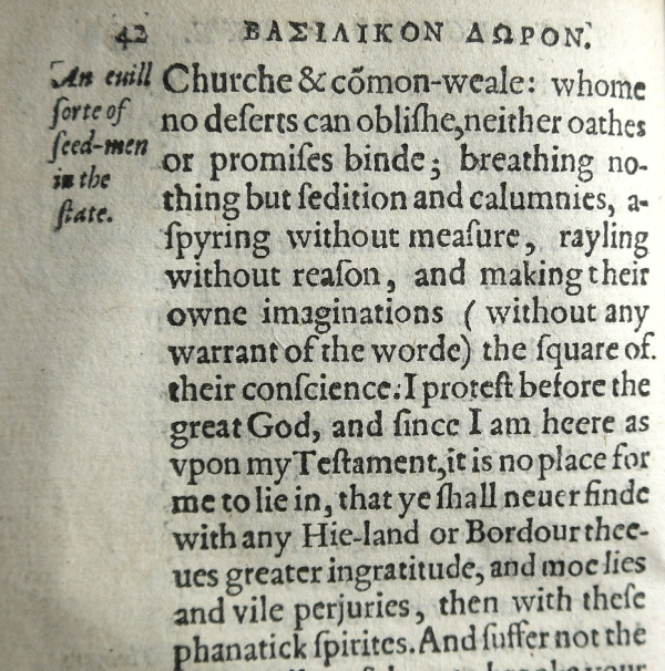 "A section of text critical of ""Puritans"" (Melville and his followers) in the Basilikon Doron (Sp Coll Bl4-k.7)"