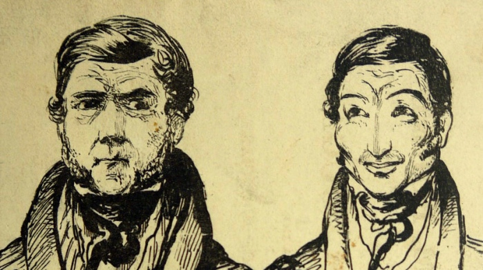 Portrait of William Burke (left) and William Hare (right) from Trial of William Burke and Helen McDougal, before the High Court of Justiciary (Sp Coll Mu26-d.39)
