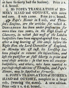 Advertisement for one of Donaldson's works in the 'Edinburgh Advertiser' of 9 July 1765 (Sp Coll BM20-c.25)