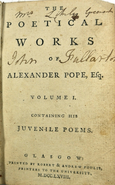 "The titlepage of a ""pirate"" (or not?) copy of Pope printed by the Glasgow University printers Robert and Andrew Foulis (Sp Coll Mu47-c.39)"