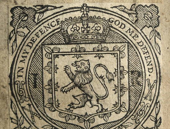 Bookplate from a book belonging to James VI (Sp Coll Mu20-y.18)