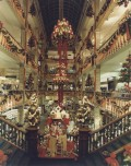 Photograph of the interior of the House of Fraser store in Buchanan Steet, Glasgow, decorated for Christmas, 1981