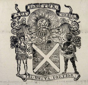 Arms of the Scottish Company Trading to Africa and the Indies. The Latin text translates as:  Wherever the world extends, united strength is stronger (Sp Coll Spencer f51)