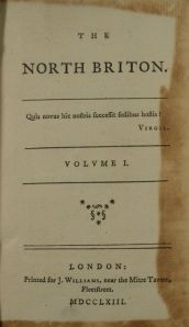 Front page of the first issue of the North Briton (ref:  Sp Coll f42 & Sp Coll Hunterian Cn.3.5-6 )