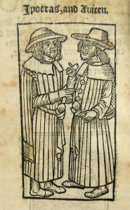 Woodcut of Hippocrates (presumably raised from the dead!) talking with Avicenna. From Hippocrates: Prognostics [English] [ca. 1545] (Sp Coll Hunterian Au.4.11e)