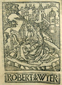 Robert Wyer's woodcut printer's device featuring St. John the Evangelist (the sign under which he operated) seated on Patmos writing.
