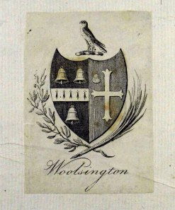 Armorial bookplate for the Bell family of Woolsington, Northumberland in Wealth of Nations (Sp Coll RQ 3114-5)