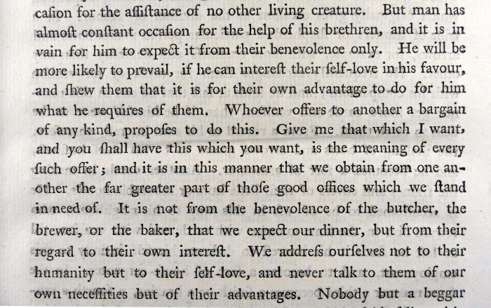 Smith discussing the benefits of self-interest. (Wealth of Nations Book 1, Chapter 2 (p.17)) (Sp Coll RQ 3114-5)