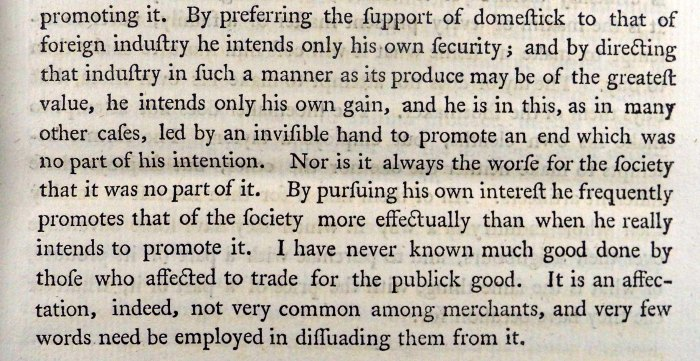 "Smith's only direct mention of the ""invisible hand"" in Wealth of Nations (Book 4, Chapter 2 (p.35)) (Sp Coll RQ  3114-5)"