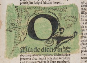 "Initial ""Q"" from a1r of Euing's copy of Burley"