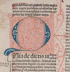 "Initial ""Q"" from a1r of Veitch's copy of Burley"