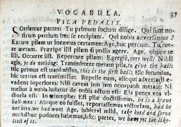 Wedderburn's 'Vocabula' - passage describing a games of football (Sp Coll BD1-i.2)