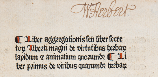 William Herbert's autograph in the Liber Aggregationis