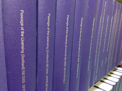 Scottish Parliament Passage of Bills photographed on the shelves