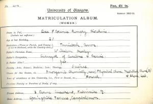 Ada's matriculation slip for 1912-13 (R8/5/33/10)