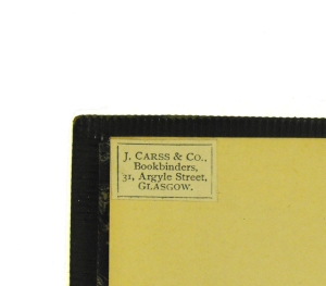 J. Carss & Co. binder's label on a Euing incunable (Sp Coll BD7-e.17)
