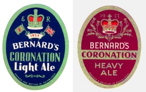 Labels for ales brewed by Thomas & James Bernard Ltd in Edinburgh for the 1953 Coronation.